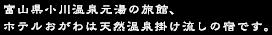 富山県小川温泉元湯の旅館、ホテルおがわは天然温泉掛け流しの宿です。